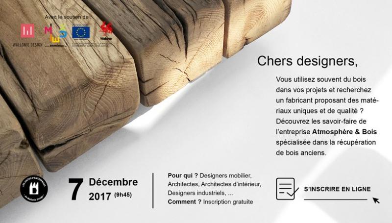 Wallonie Design organise une visite de l'entreprise Atmosphère&Bois